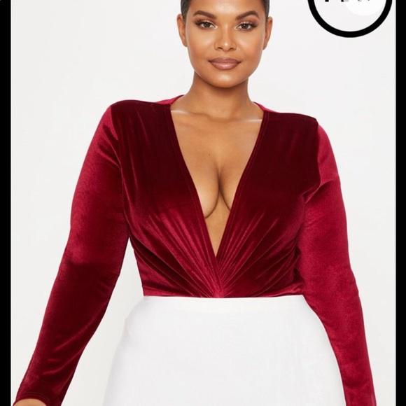 58a69caa0b8 Plus Burgundy Velvet Twist Front Bodysuit